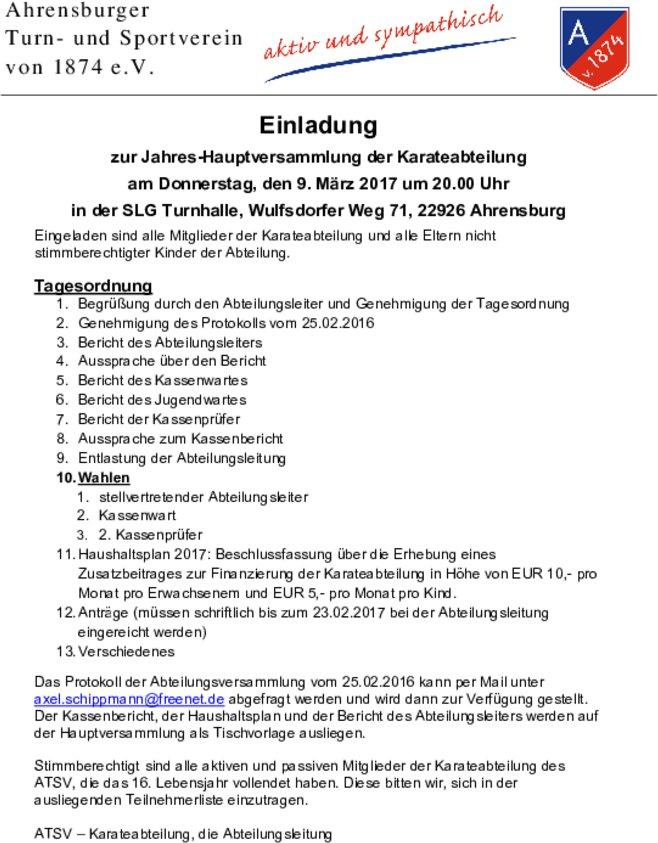 einladung zur abteilungsversammlung der karateabteilung am 9. märz, Einladung